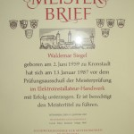 Meisterbrief Waldemar Siegel